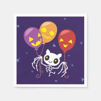 Halloween Bat Skeleton Flying With Balloons Disposable Napkins