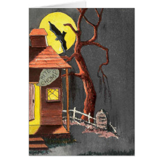 Halloween Bat Tombstone Haunted House card