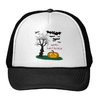 Halloween Bats Pumpkin Spooky Tree Mesh Hats