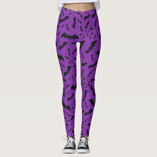 Halloween Bats Purple & Black Leggings