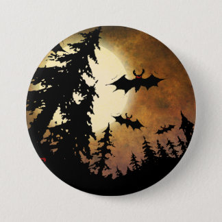 Halloween Bats, Spooky Forest at Full Moon 3 Inch Round Button