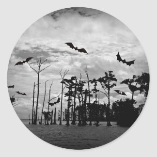 Halloween Bats - Spooky Scene Classic Round Sticker