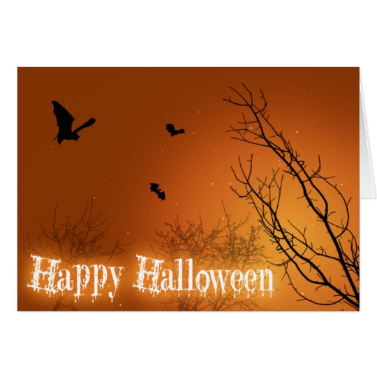 Halloween Bats & Trees - Greeting Card