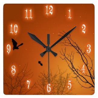 Halloween Bats & Trees - Square Wall Clock