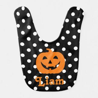 Halloween Bib Polka dot Pumpkin Bib baby boy