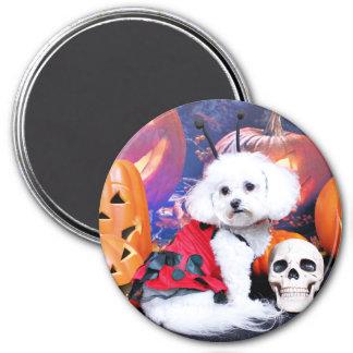 Halloween - Bichon Frise - Mia 3 Inch Round Magnet