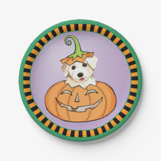 Halloween Bichon Paper Plate