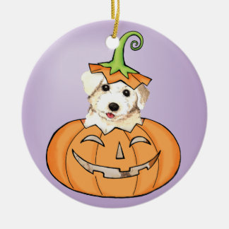 Halloween Bichon Round Ceramic Ornament