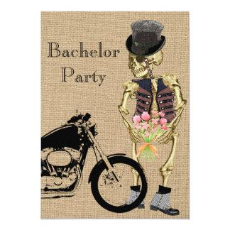 Halloween Biker Skeleton Bachelor Party Invitation