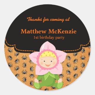 Halloween birthday costume round sticker