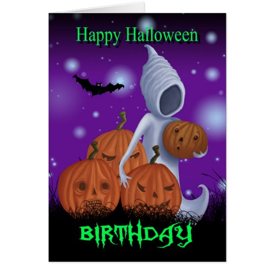 Halloween Birthday Ghost And Pumpkins Card
