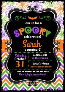 Kids Halloween Birthday Invitations Announcements
