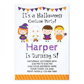 Halloween birthday Invitation, Costume party Card
