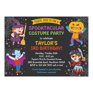 "Halloween Birthday Invitation, costume party, kids 5"" X 7"" Invitation Card"