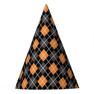 Halloween Black and Orange Harlequin Party Hat