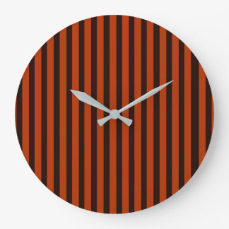 Halloween Black and Orange striped Large Clock