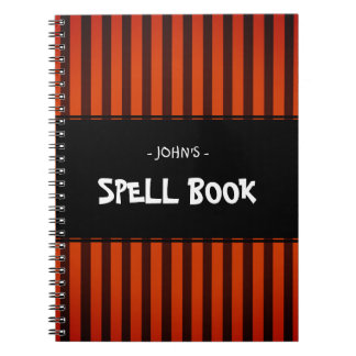 Halloween Black and Orange striped Notebook