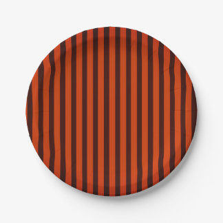 Halloween Black and Orange striped Paper Plate