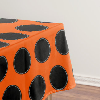 Halloween Black and White Dots on Orange Tablecloth