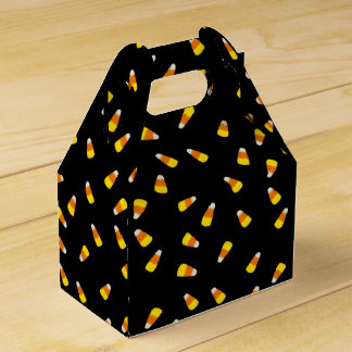 Hallowe'en Black background with candy corn Favor Box