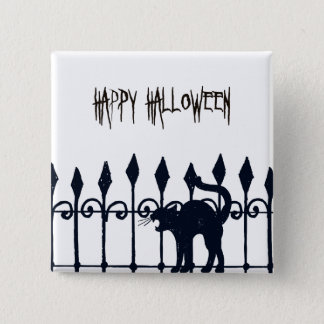 Halloween Black Cat 2 Inch Square Button