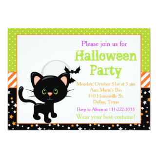 Halloween Black Cat and Full Moon Card
