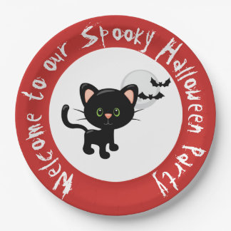 Halloween Black Cat and Full Moon Paper Plate