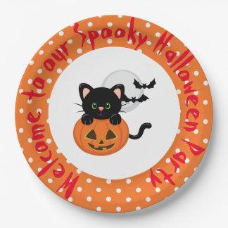 Halloween Black Cat and Pumpkin Paper Plate