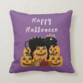 Halloween Black Cat and Pumpkins Throw Pillow