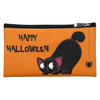 Halloween Black Cat and Spider Cosmetic Bag