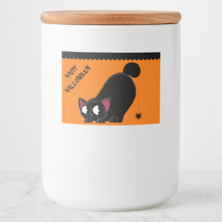 Halloween Black Cat and Spider Food Label
