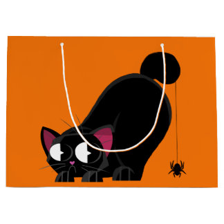 Halloween Black Cat and Spider Large Gift Bag
