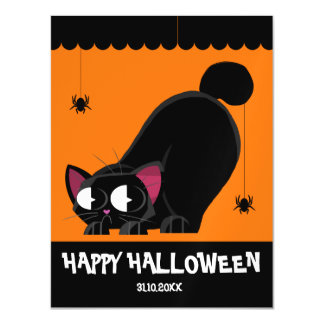 Halloween Black Cat and Spider Magnetic Card
