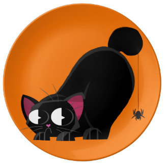 Halloween Black Cat and Spider Plate