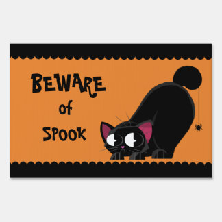 Halloween Black Cat and Spider Sign