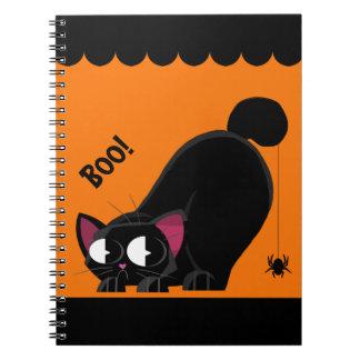 Halloween Black Cat and Spider Spiral Notebook