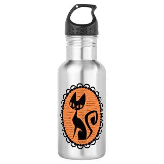 Halloween Black Cat Cameo 532 Ml Water Bottle