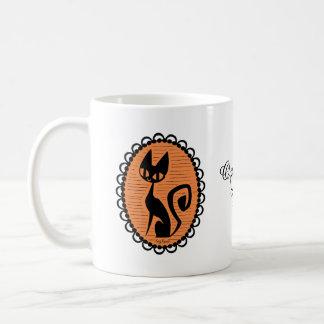 Halloween Black Cat Cameo Coffee Mug