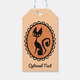 Halloween Black Cat Cameo Gift Tags