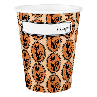 Halloween Black Cat Cameo Paper Cup