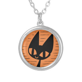 Halloween Black Cat Cameo Silver Plated Necklace