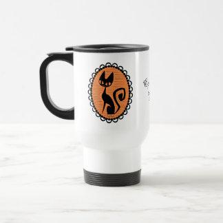 Halloween Black Cat Cameo Travel Mug