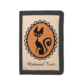 Halloween Black Cat Cameo Trifold Wallet