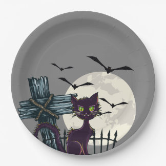 "Halloween ""black cat"" ""full moon"" creepy graveyard 9 inch paper plate"