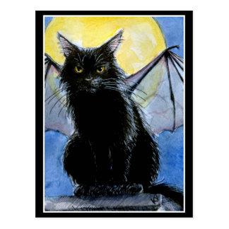 Halloween black cat gargoyle postcard