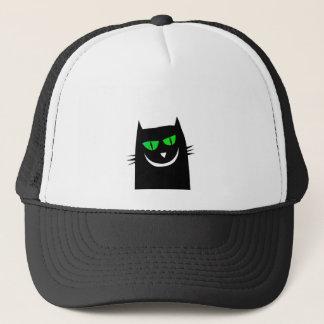 Halloween Black Cat Green Eyes Crazy Trucker Hat