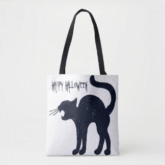 Halloween Black Cat & Grey Stripes Tote Bag