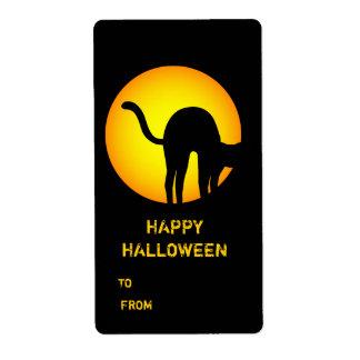 Halloween Black Cat Happy Halloween Gift Label