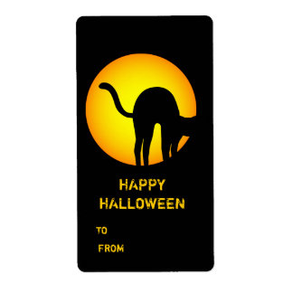 Halloween Black Cat Happy Halloween Gift Label Shipping Label