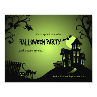 Halloween Black Cat Haunted House Card